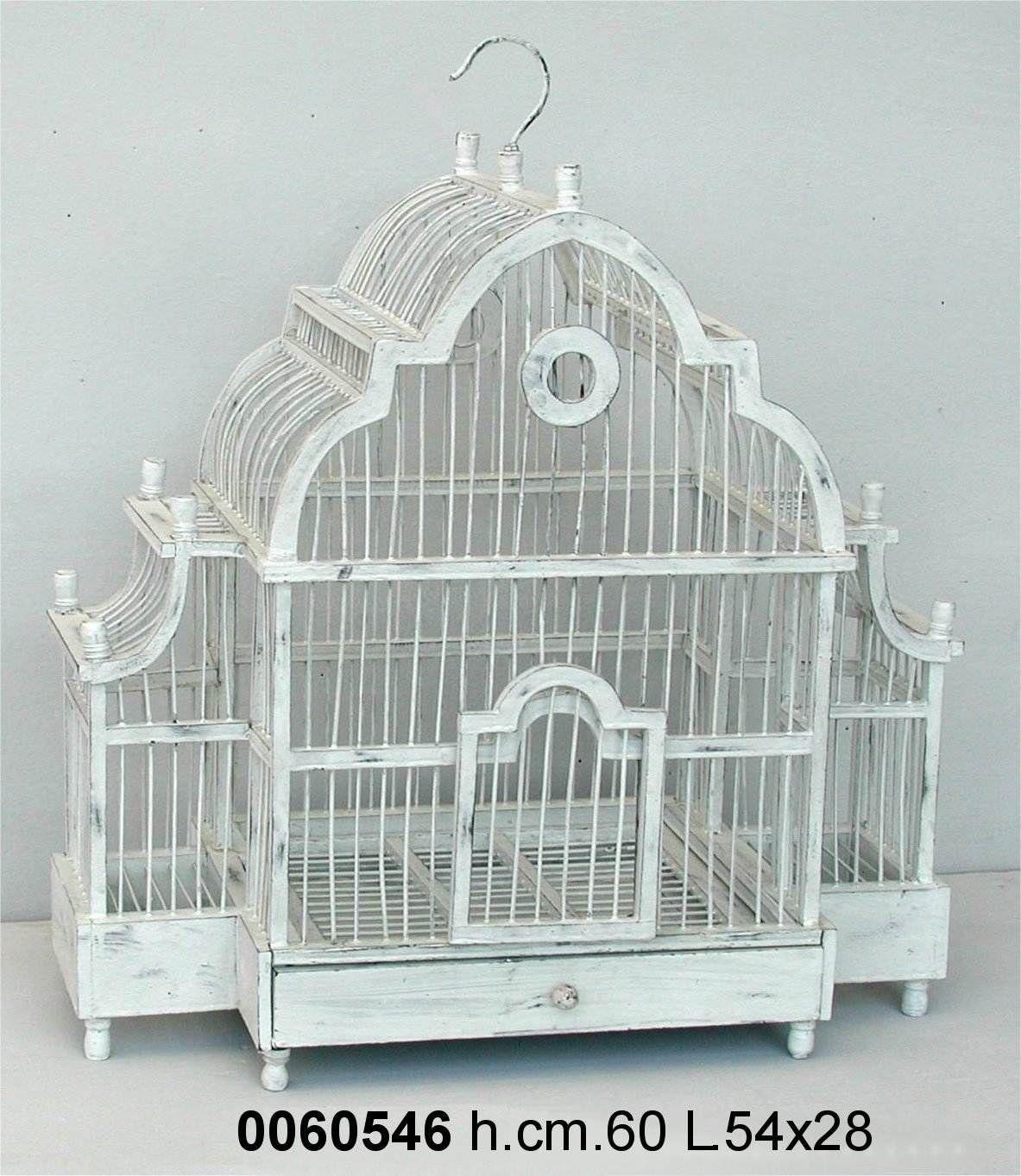 antica soffitta gabbia per uccelli decorativa 60cm shabby