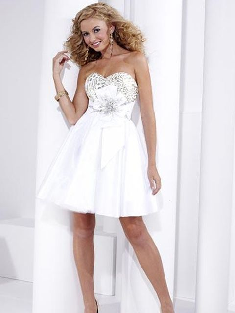 Silver and White Short Formal Dresses