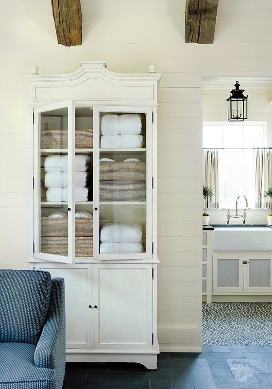 LOVE fresh towels in a hutch. Repurposed china cabinet - great for ...