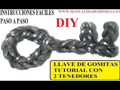 ▶ COMO HACER UNA LLAVE DE GOMITAS CON DOS TENEDORES. TUTORIAL DIY FIGURITA. - YouTube