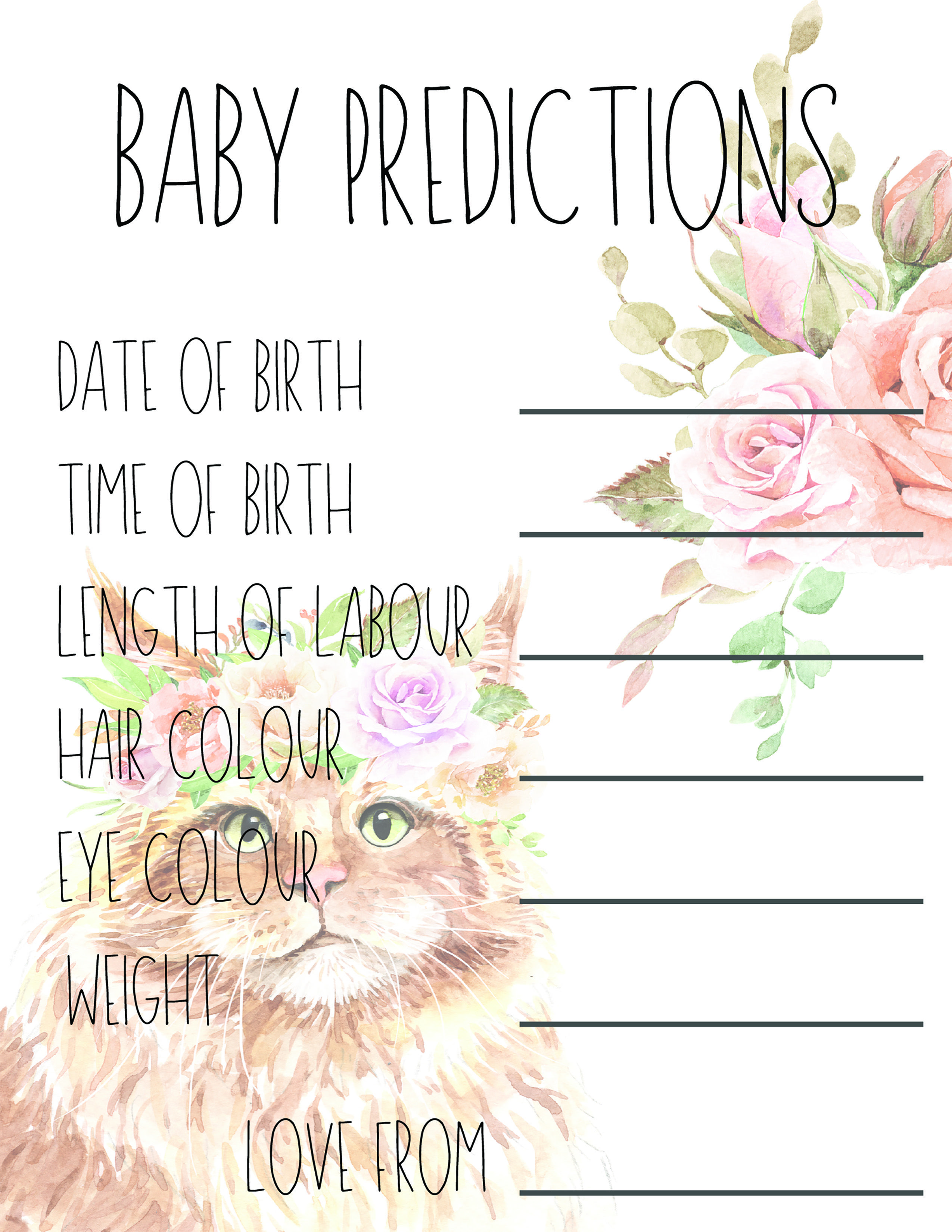 Baby Shower Games Cat Theme Baby Shower Game Printable Instant Download Baby Prediction Game Gender Reveal Cat Baby Suite In 2020 Baby Prediction Baby Shower Themes Baby Shower Games