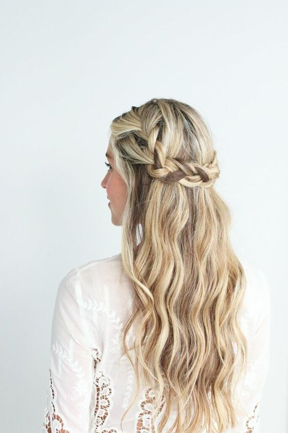 Low Braided Crown With Loose Beach Waves Hair Styles Crown Hairstyles Messy Hairstyles