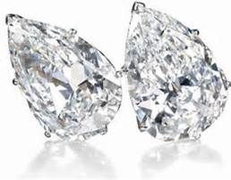 'The Safra Pear-Shaped Diamond Ear Clips' - Each pear-shaped stone weighs more than 19 carats. Sold for $5,316,669 -
