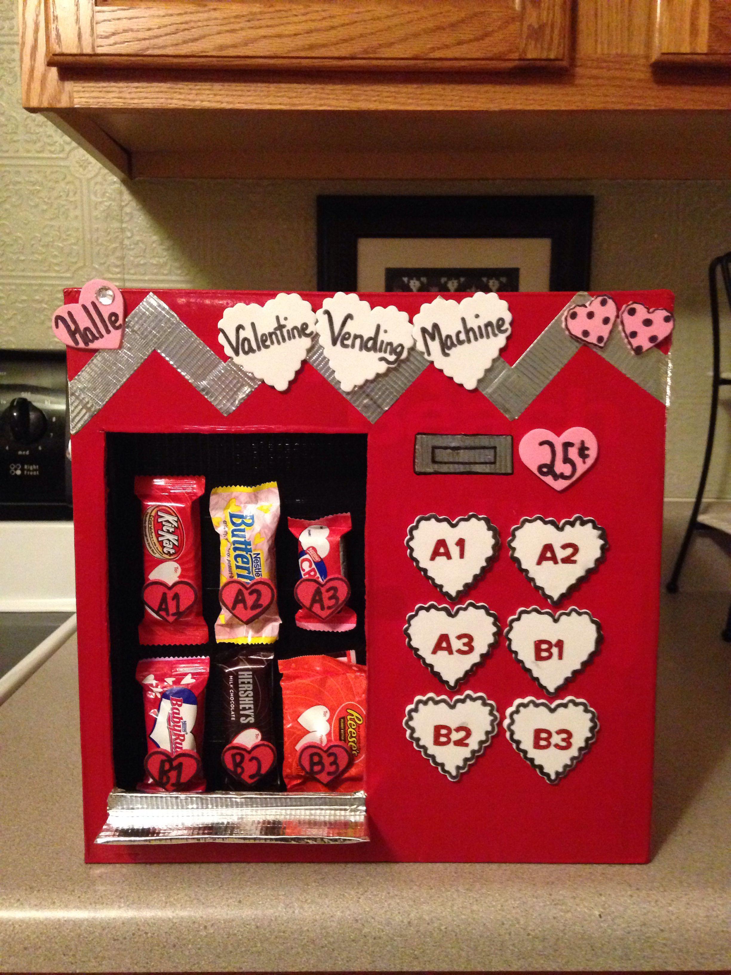 Valentine Vending Machine Girls Valentines Boxes Diy Valentines Decorations Valentine Box