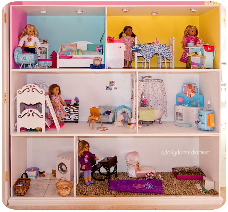 "american girl doll house! measures 81"" wide x 77"" high x 24"". read"