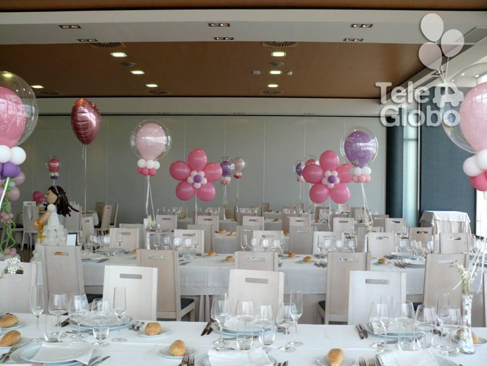 Resultado de imagen para topiarios de globos con helio y tul deco globos pinterest globo - Adornar mesas de comunion ...