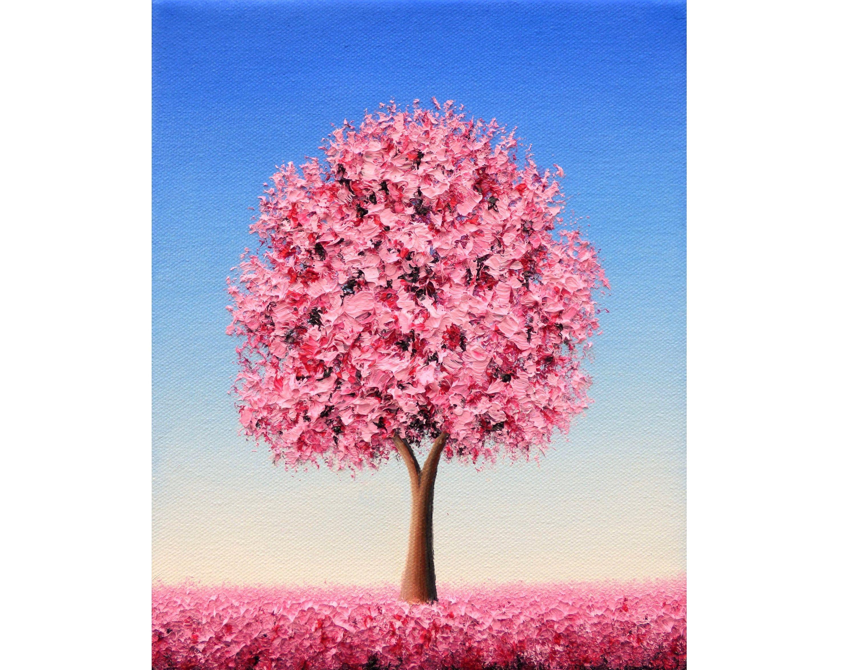 Cherry Blossom Tree Painting Original Oil Painting Etsy Tree Painting Tree Art Blossom Trees