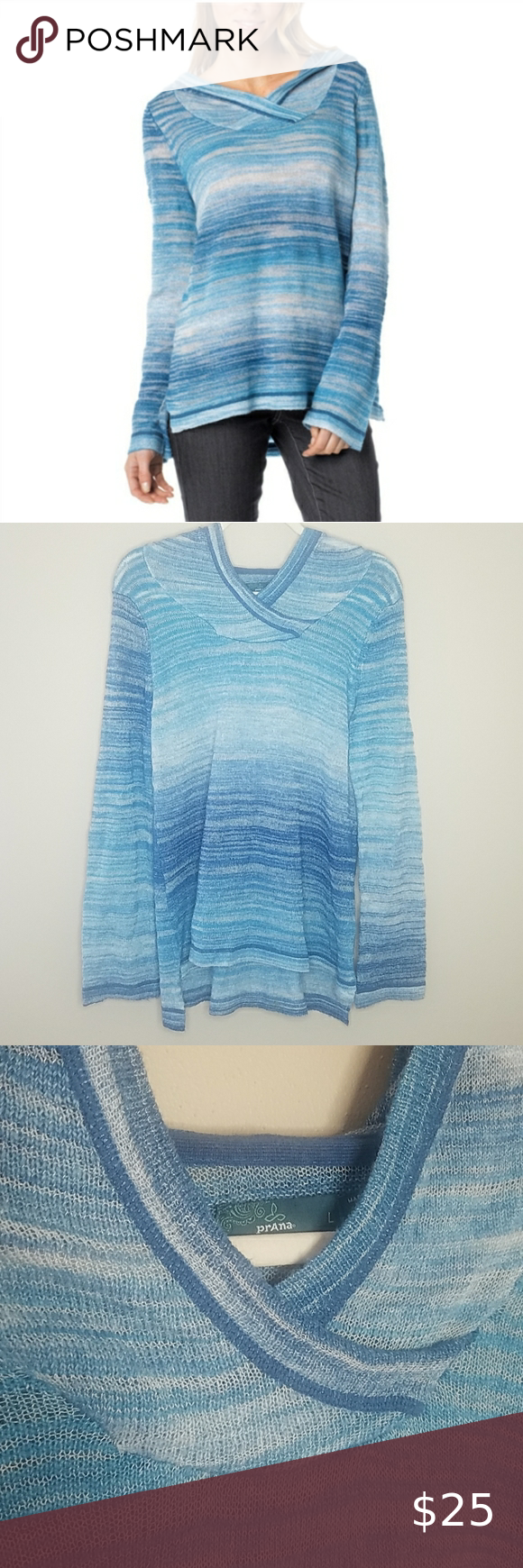 Prana Nina Hoodie, Size Large Prana Nina Hoodie, Size Large in Blue Stripe.  Small pull in the front as pictured.  86% Acrylic,  14% Nylon.  Measures approximately 27
