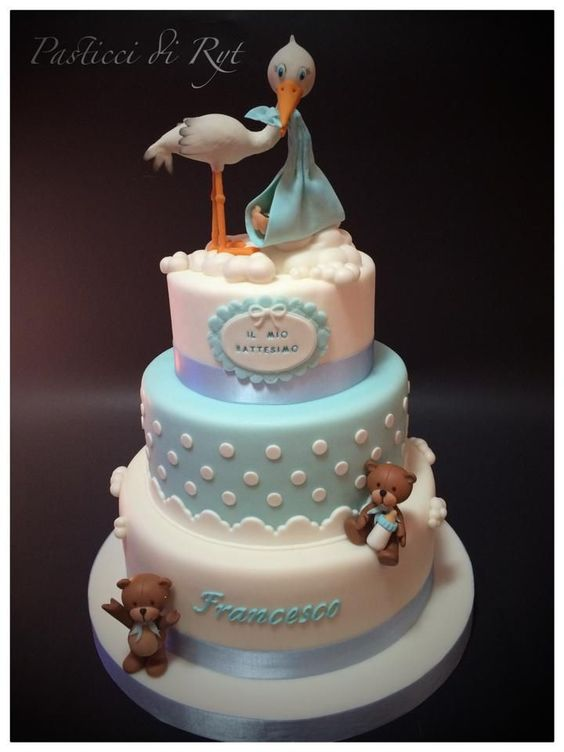 25 Tartas Para Bautizo Para Nenes Bebeazul Top Torta Baby Shower Shower Cakes Baby Cake
