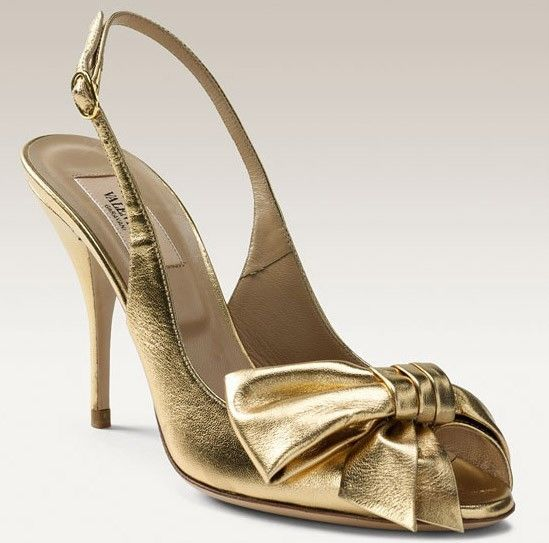 Valentino Mena Bow Open Toe Slingback Sandals Heels Shoes Metallic ...