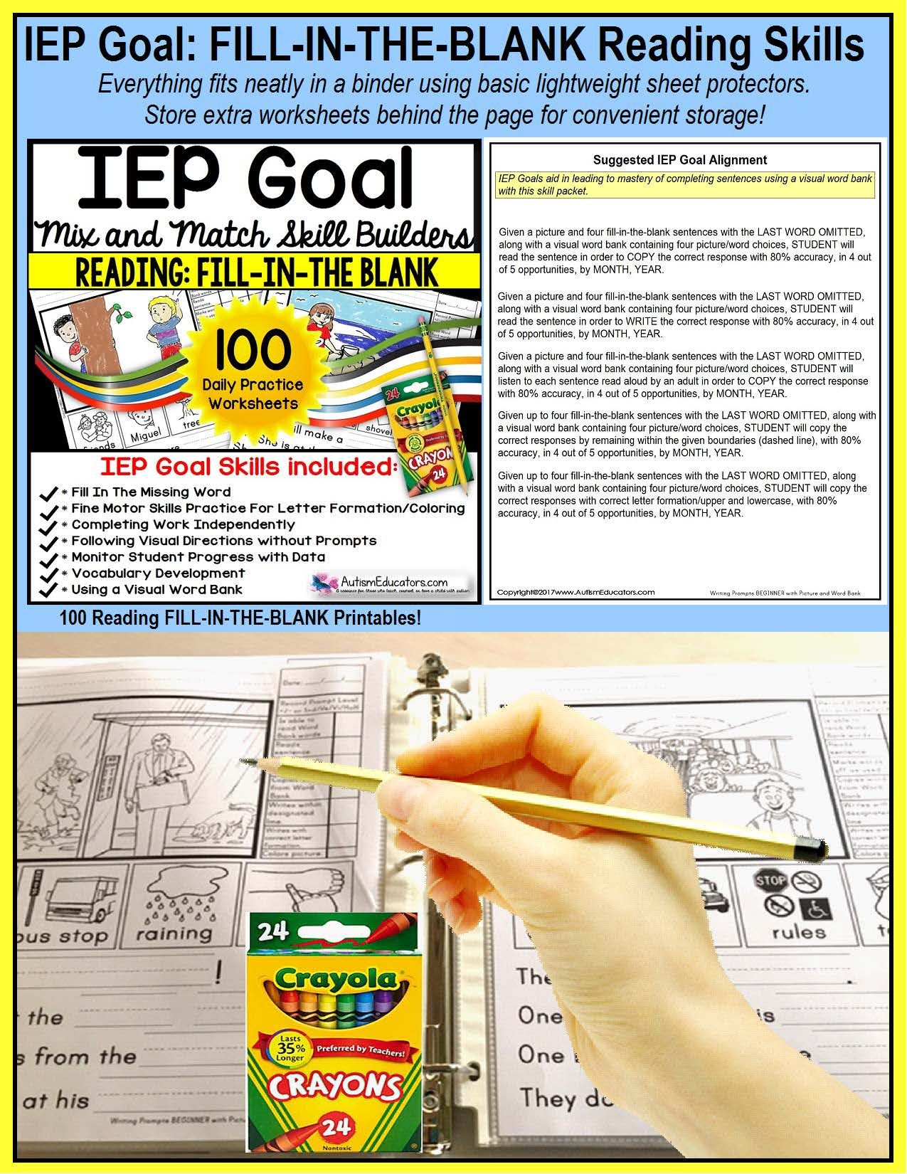 Reading Comprehension Iep Skill Builder Fill In The Blank Worksheets For Autism Reading Comprehension Iep Goals Teaching Reading Strategies [ 1650 x 1275 Pixel ]
