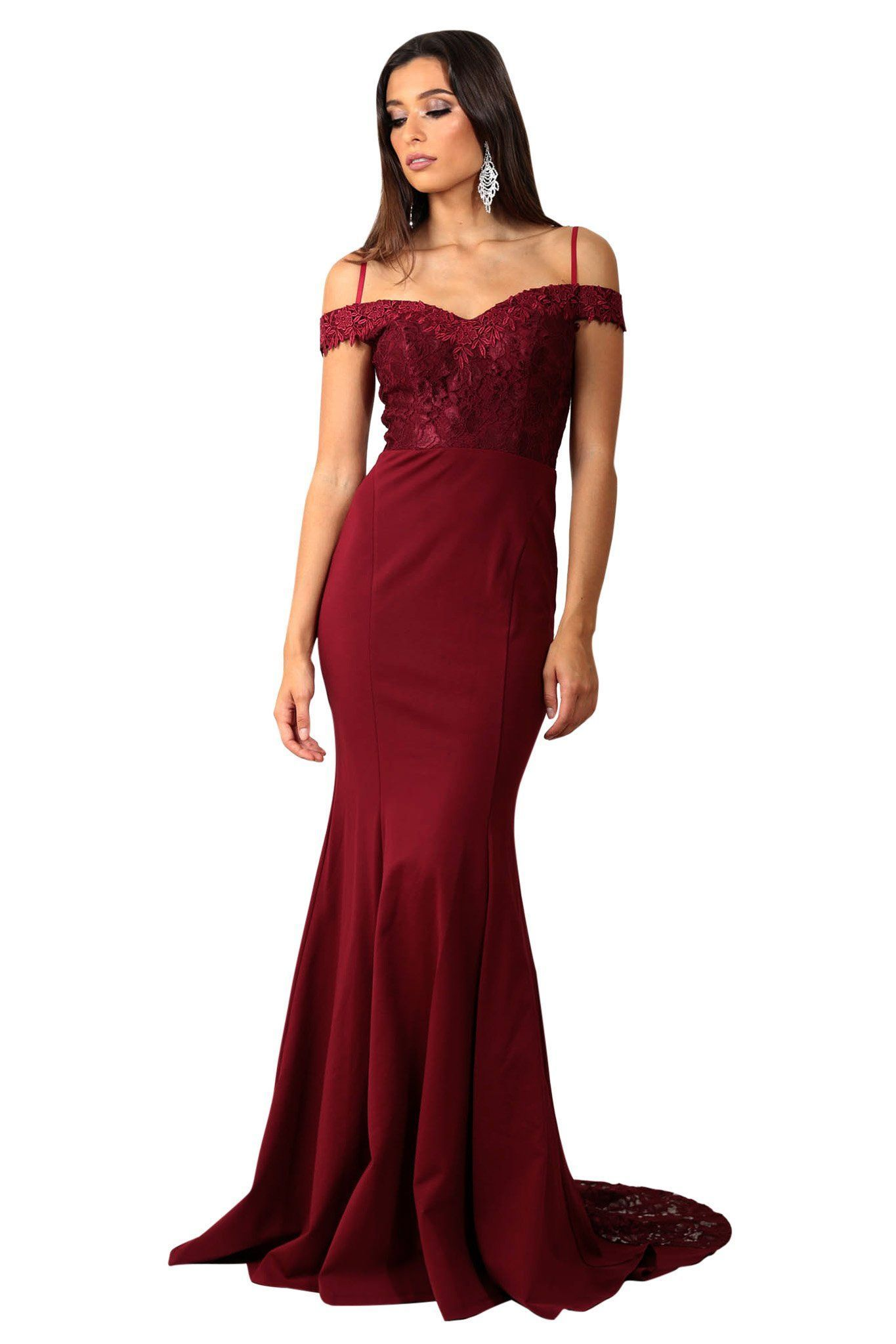 Wine red burgundy mermaid prom dresses off the shoulder lace simple
