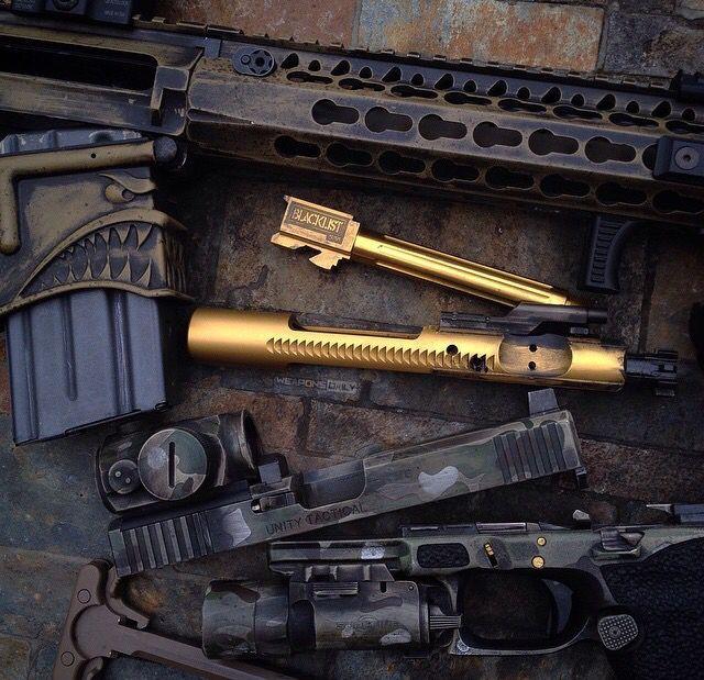 Golden barrel, Glock, AR15, custom, guns, weapons, self defense, protection, 2nd amendment, America, firearms, munitions #guns #weapons
