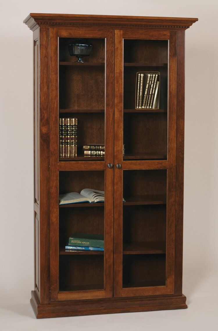 Classic bookcase full length glass doors home office for Classic muebles uruguay