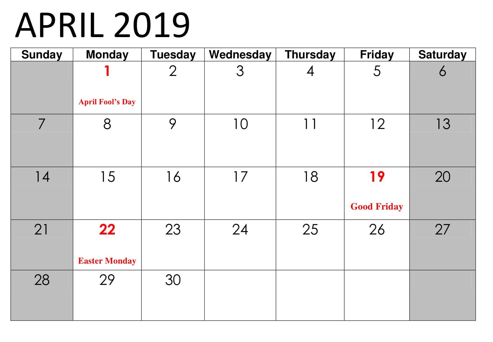 April 2020 Calendar With Holidays Printable Notes Template Blank