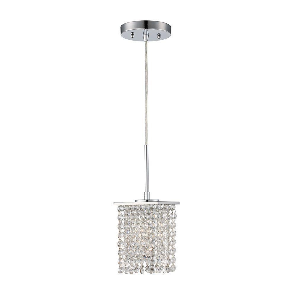 Monteaux Lighting 1 Light Chrome And Crystal Pendant 107 Dnp The Home Depot Glass Diffuser Crystal Pendant Lighting Light