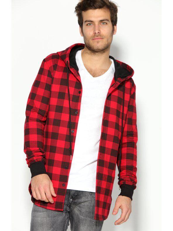 387e20b867 Camisa sudadera para hombre con capucha a cuadros