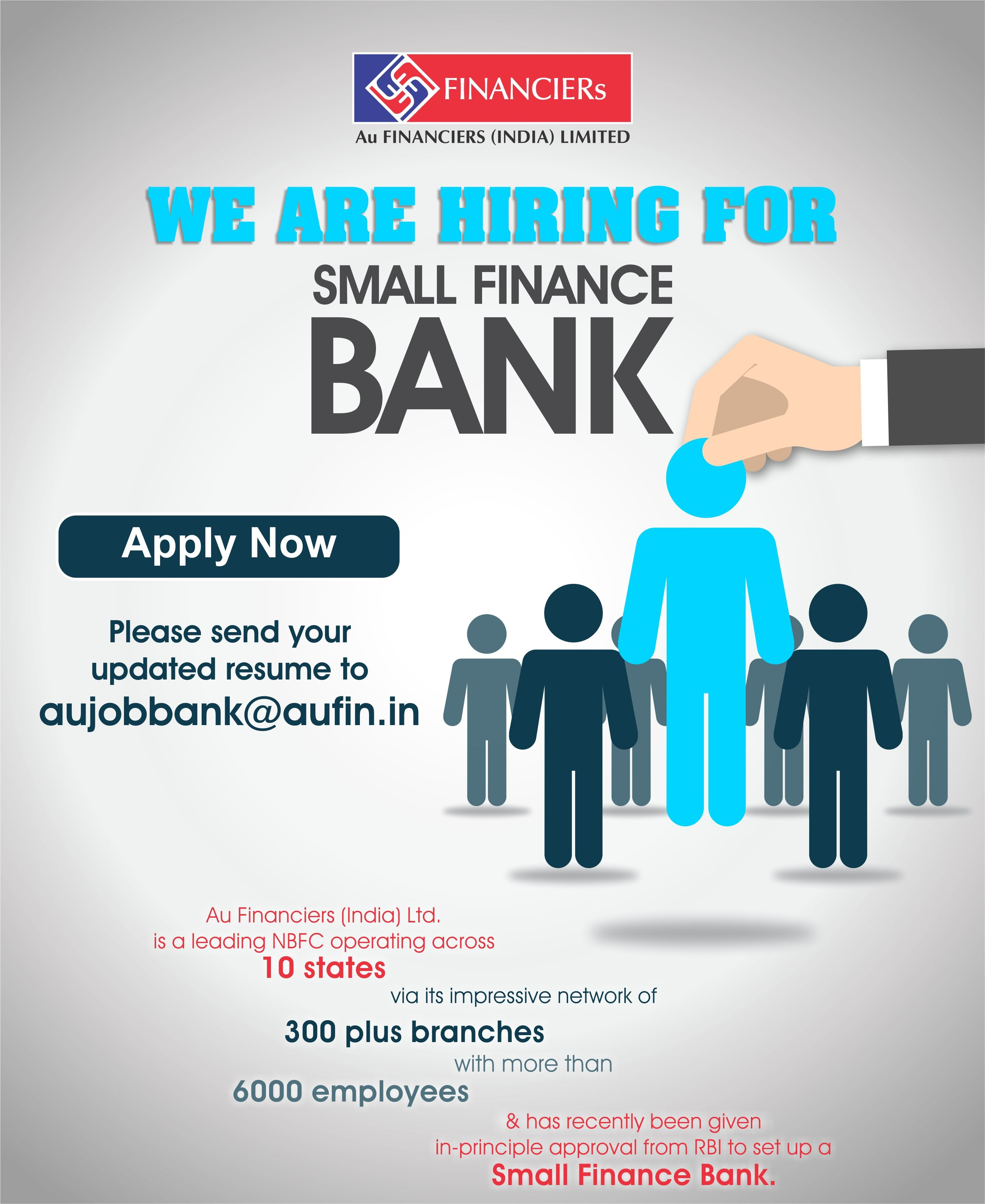 we are hiring for small finance bank please send your updated