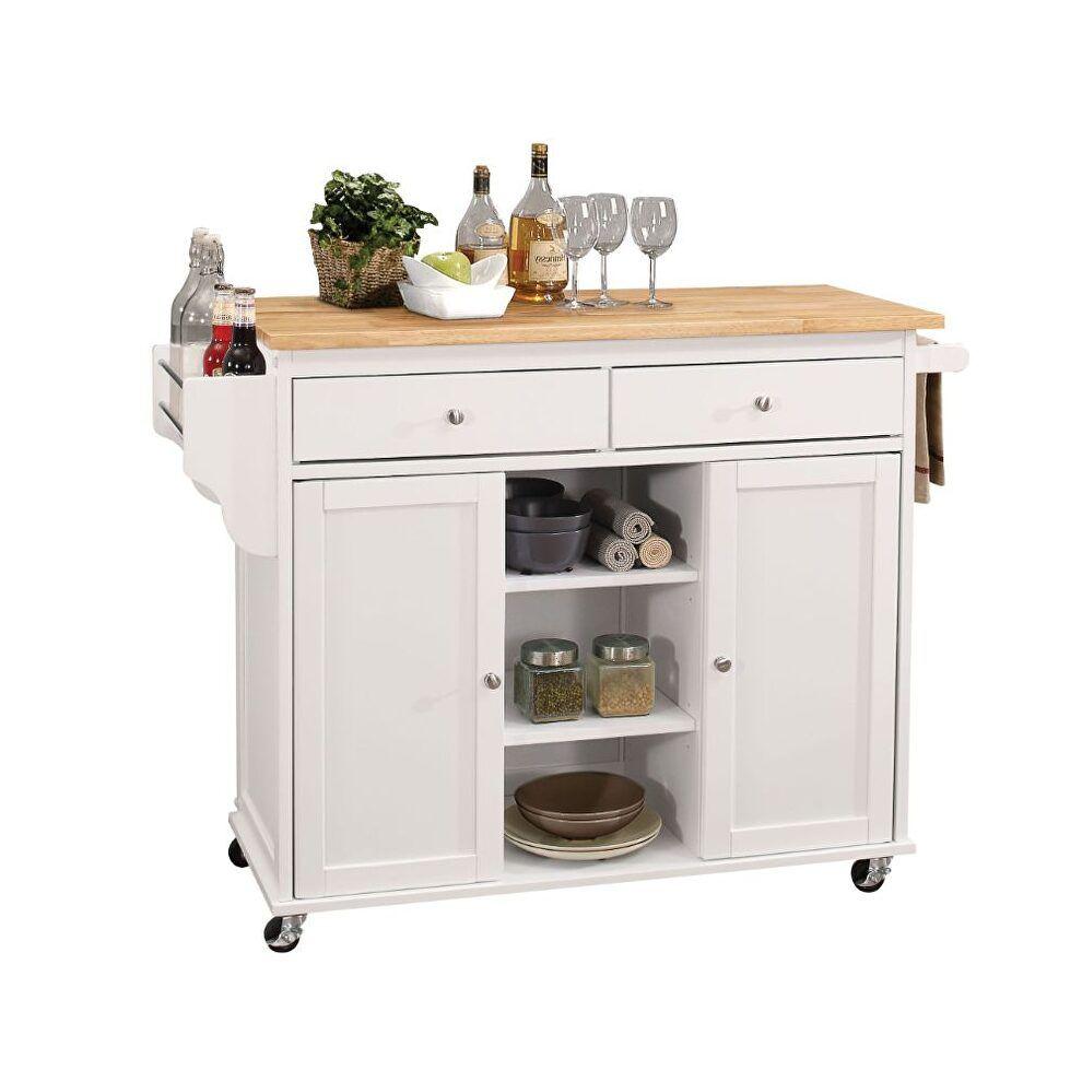 Tullarick Ii Kitchen Cart 98305 Acme Corporation Carts Kitchen Islands Mobile Kitchen Island White Kitchen Cart White Kitchen Island