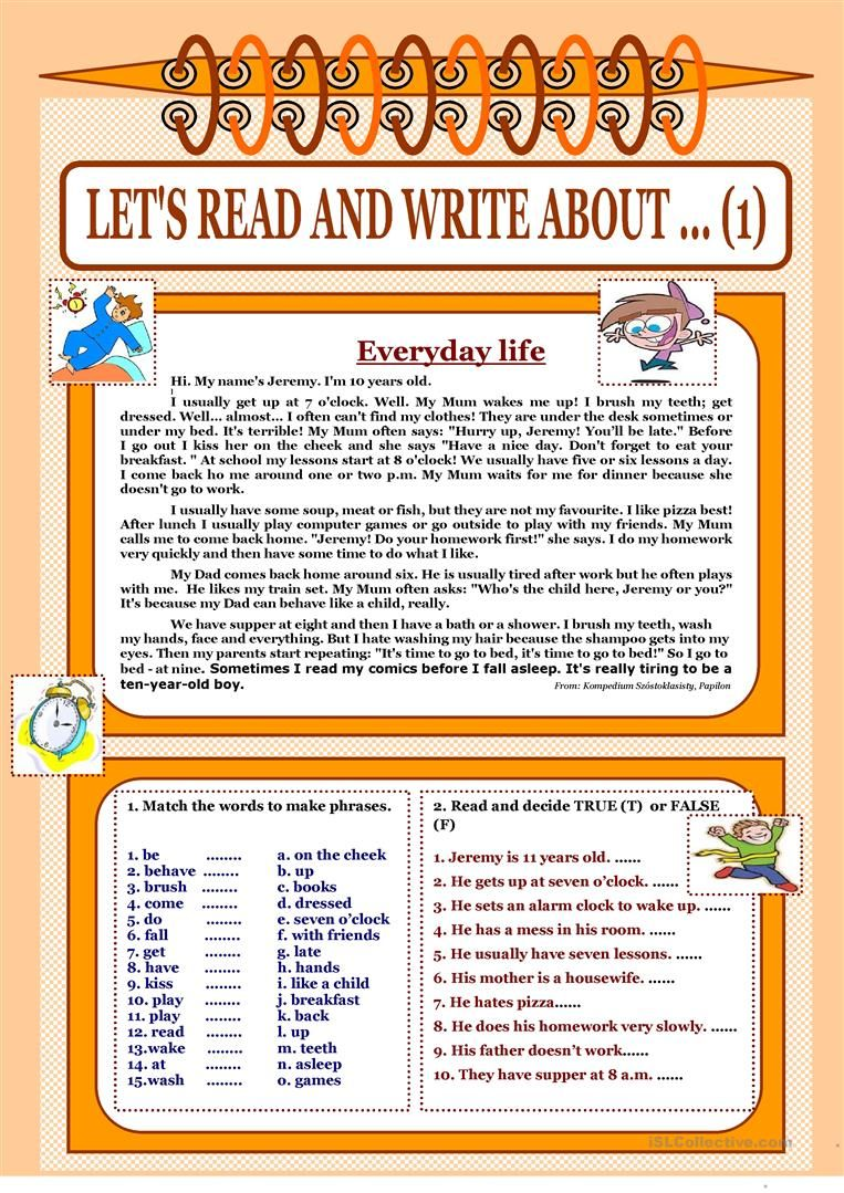 Let S Read And Write About 1 Everyday Life Worksheet Free Esl Printable Worksheets Made By Reading Writing English Reading Esl Reading Comprehension