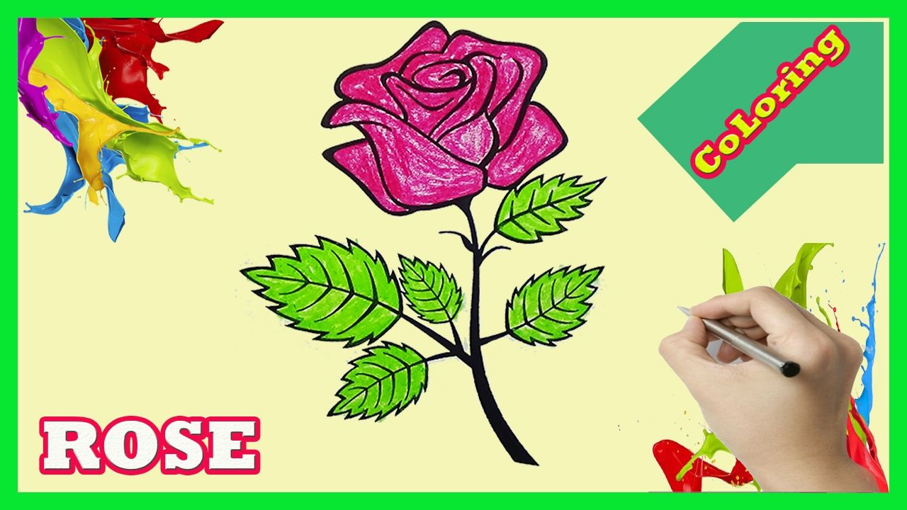 Rose Coloring Pages   How to color Rose for Kids   Coloring page for ...