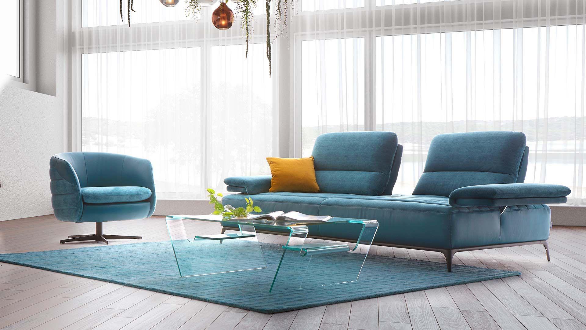 Sherman Canape Relaxation Cuir Tissu Bleu Canape Droit Mobilier De France Canape Design