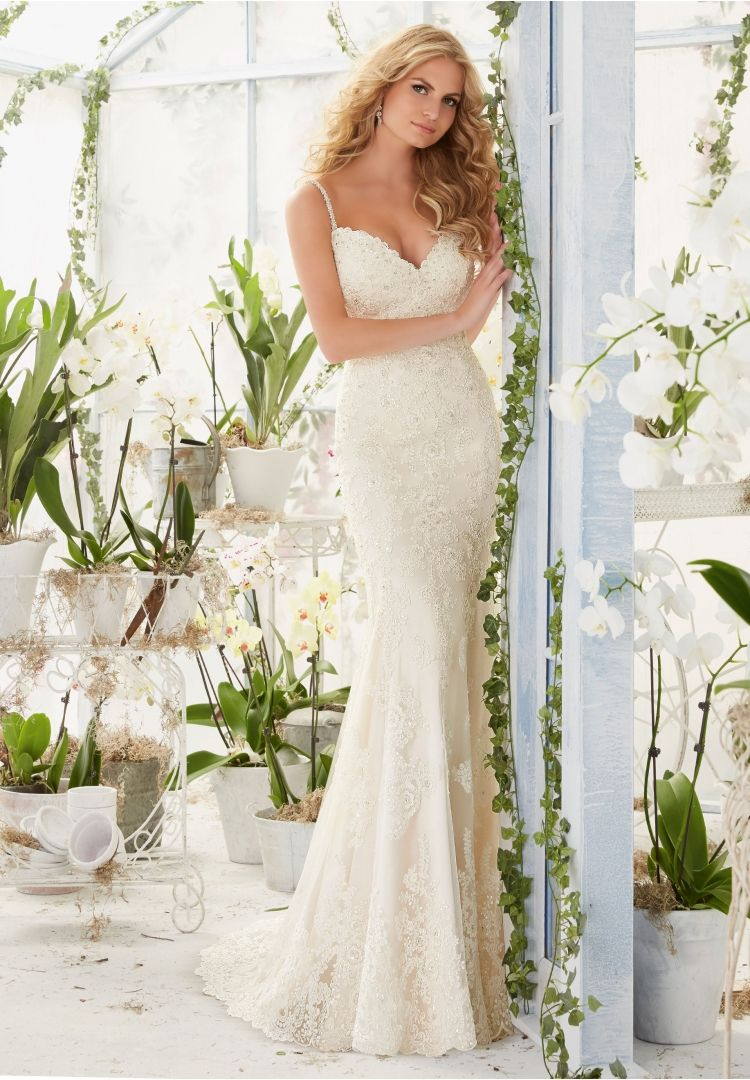 2807 Bridal Gowns / Dresses Diamante Beaded Straps on a Soft Net ...