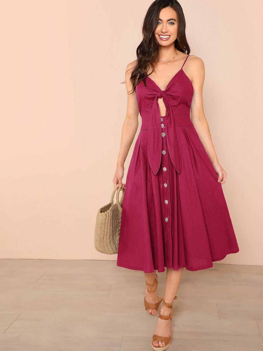 f945e0c4d7 Knot Peekaboo Button Through Cami Midi Dress | SHEIN | This dress ...