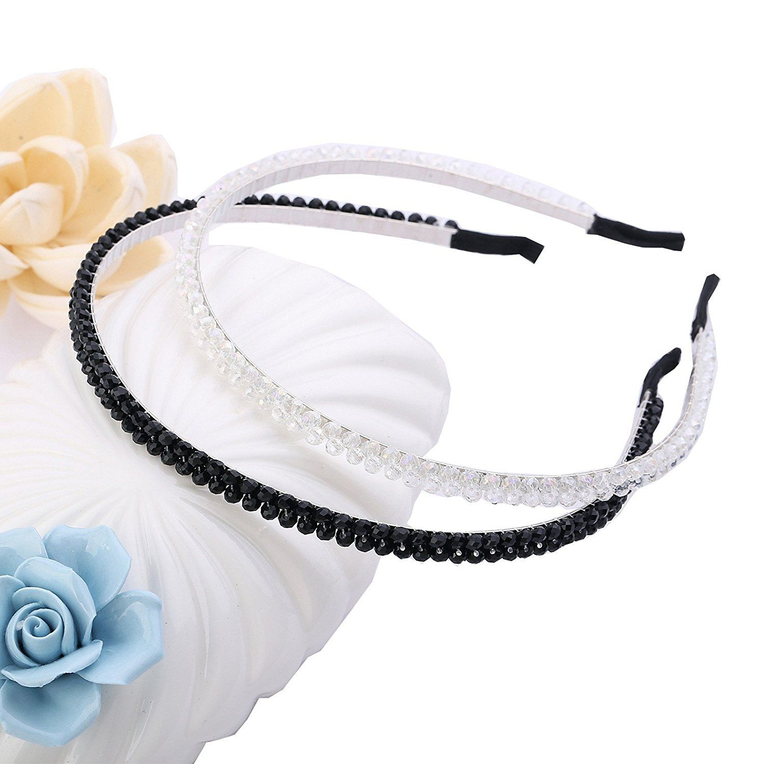 Cfrmall Girls / Women Ribbon or Jewelry Crystal Pearl Headbands (2Pcs Set Girls / Women Double Row WhiteandBlack Crystal Sparkle Headbands) * You can get more details by clicking on the image. (Amazon affiliate link)