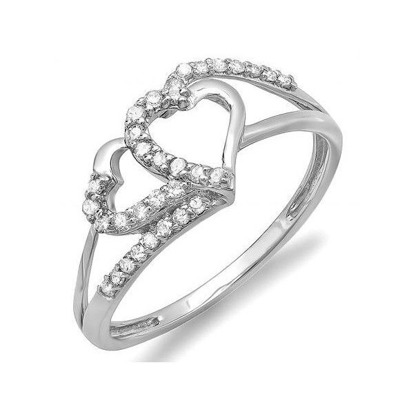 0.25 Carat (ctw) 10k White Gold Round Diamond Ladies Bridal Promise... ($189) ❤ liked on Polyvore featuring jewelry, rings, white, heart engagement rings, heart shaped diamond ring, bridal rings, diamond rings and heart diamond ring