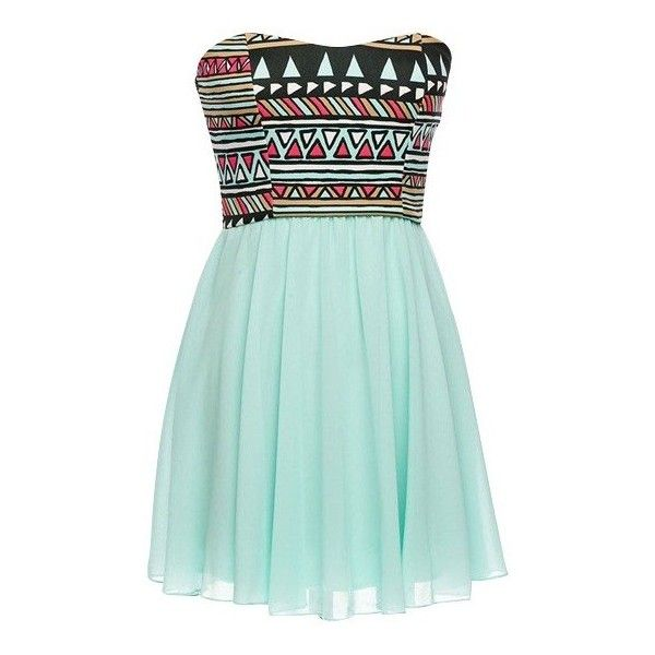 Strapless Tribal Dress ($29) ❤ liked on Polyvore featuring dresses ...