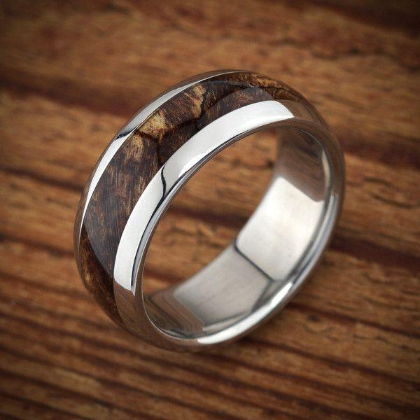 Men\'s wood wedding ring by Spexton.com, unusual wood and titanium ...