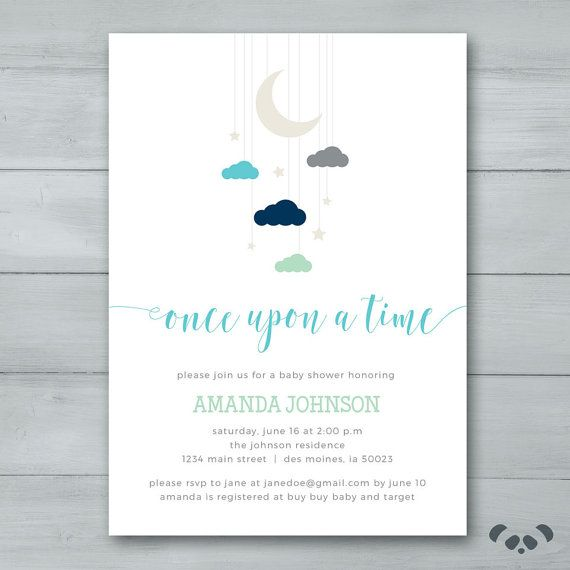 Moon Star Baby Shower Invitation Suite Moon Stars Clouds Baby