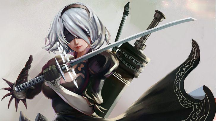 2b Nier Automata Katana Hd 4k Wallpaper: YoRHa 2B Katana And Swords Nier Automata Wallpaper