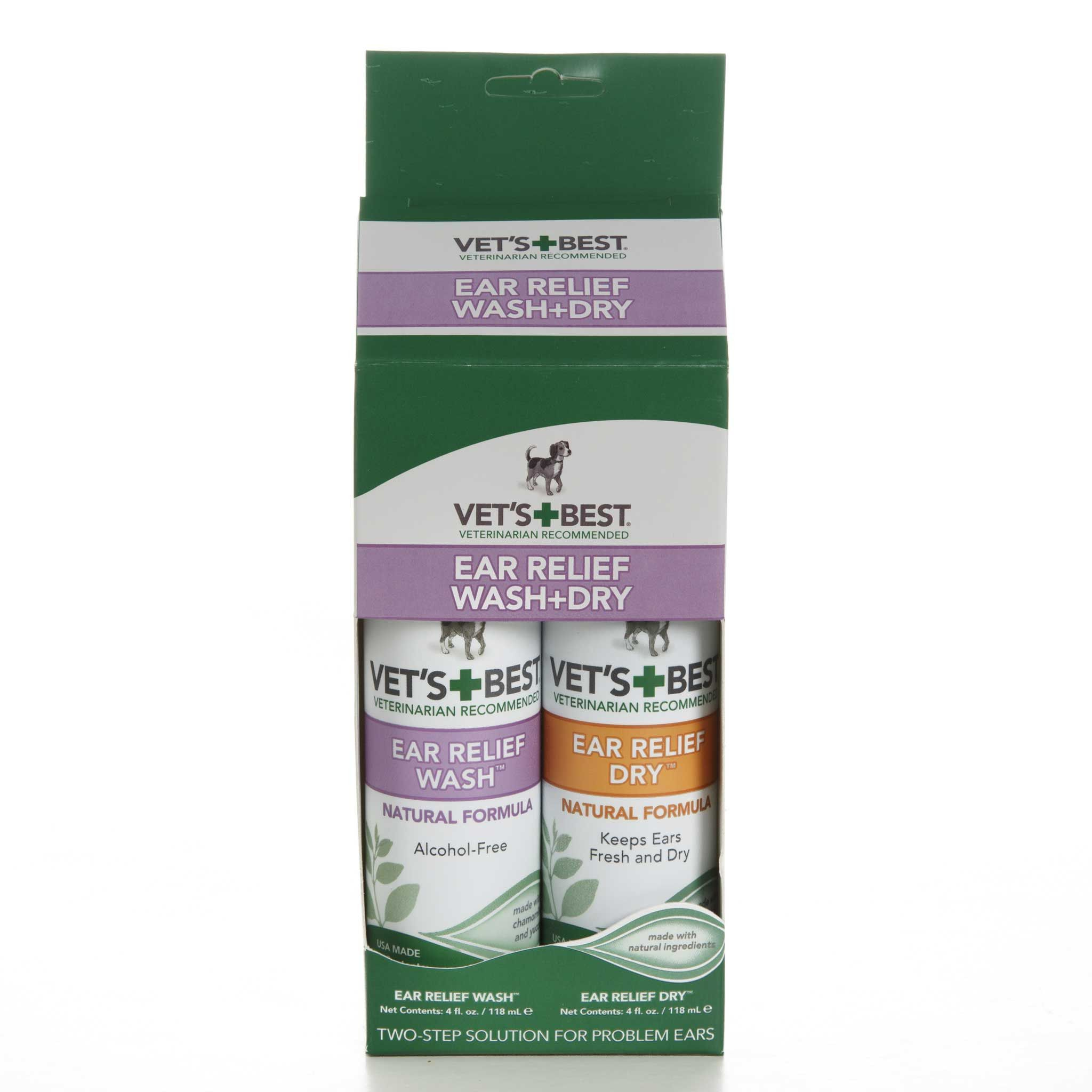 Vet's BestEar Relief Wash + Dry Cleaning dogs ears, Dog