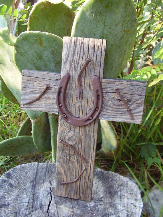 Wood cross with horseshoe