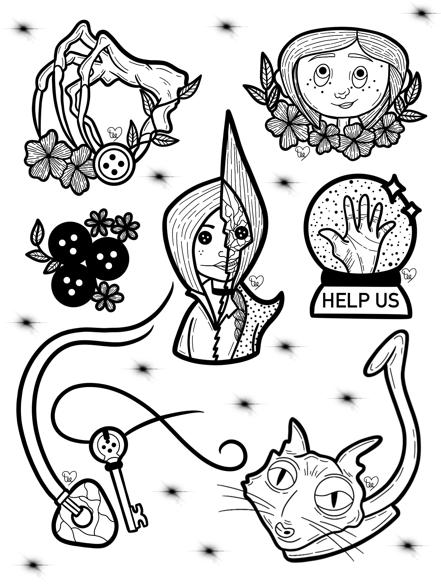 Coraline Tattoo Designs Flashsheet Artsbytee Coraline Tattoo Movie Tattoos Tattoo Flash Art