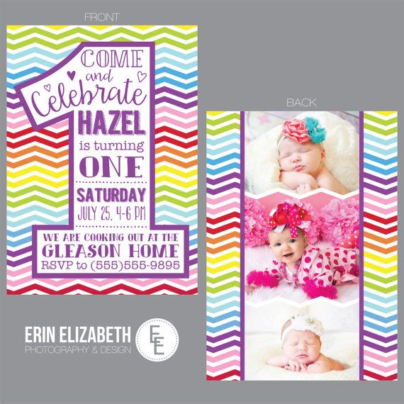 1 Year Old Birthday Card Party Invitations Colorful Rainbow Chevron