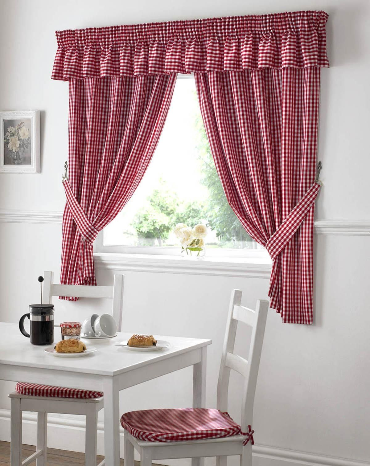 Red white checkered kitchen curtains latulufofeed