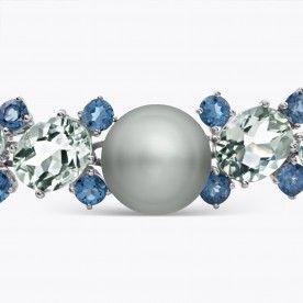 Pulsera de plata con perla Tahití y amatistas verdes con topacios - Nuestras Joyas - JOYAS