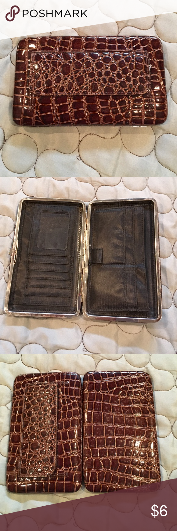 Brown patent leather snakeskin print wallet. Gently used for a few months. Still in good condition. Ready for its next adventures! Bags Wallets