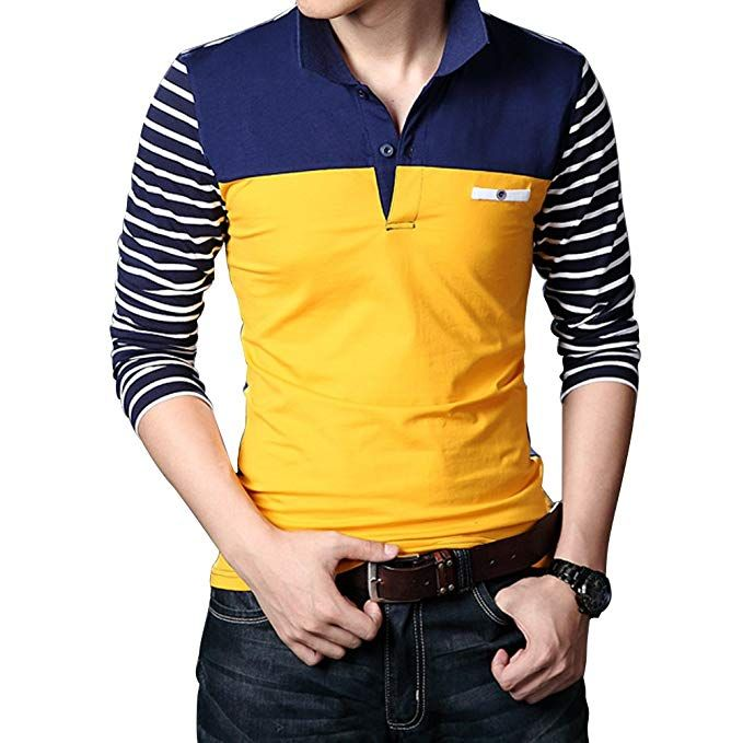 443a55252 Wishere New Men s Fashion T-shirt Cotton Long-sleeved Polo Shirt at Amazon  Men s Clothing store