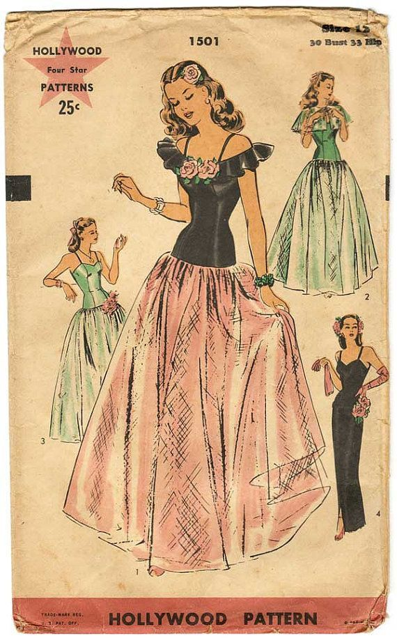1940s Ball Gowns | 1940s Evening/Ball Gown Sewing Pattern Hollywood ...