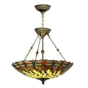 Dale Tiffany Dragonfly 2 Light Hanging Antique Bronze Chandelier FTH10011  At The Home Depot