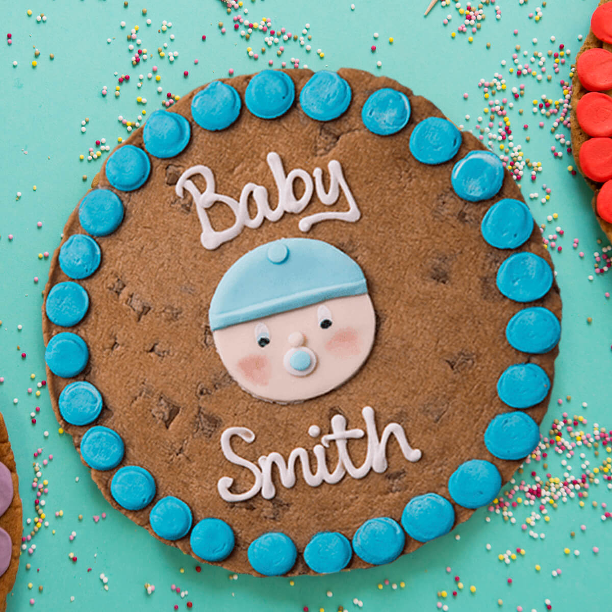 Personalised Baby Boy Giant Cookie Personalized Cookies Giant