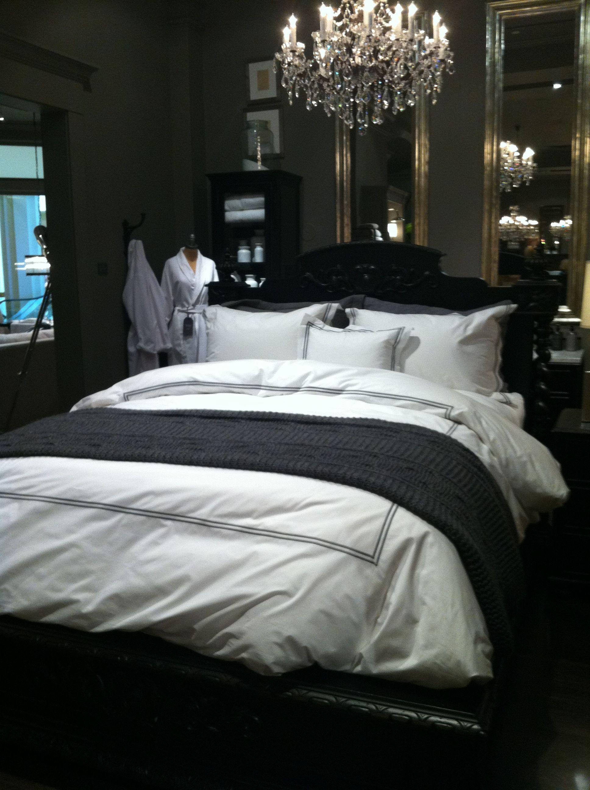 Gray & White Bedding at Restoration Hardware Showroom