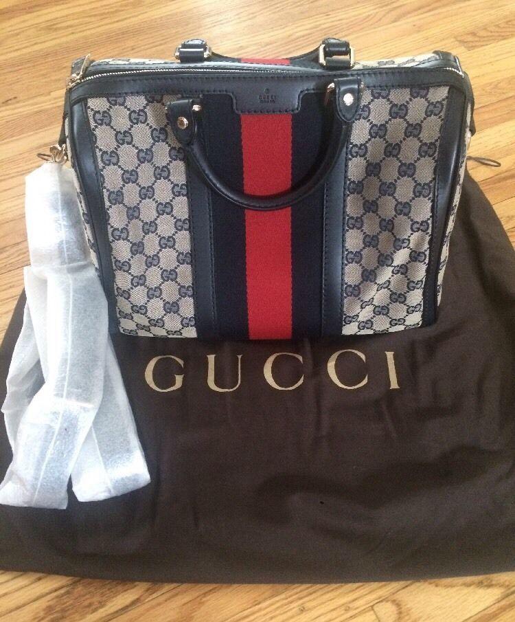 d14e55805 Gucci Vintage Web Original GG Boston Bag, Medium, Blue-Beige, NWT ~ Retail  $1275 | eBay