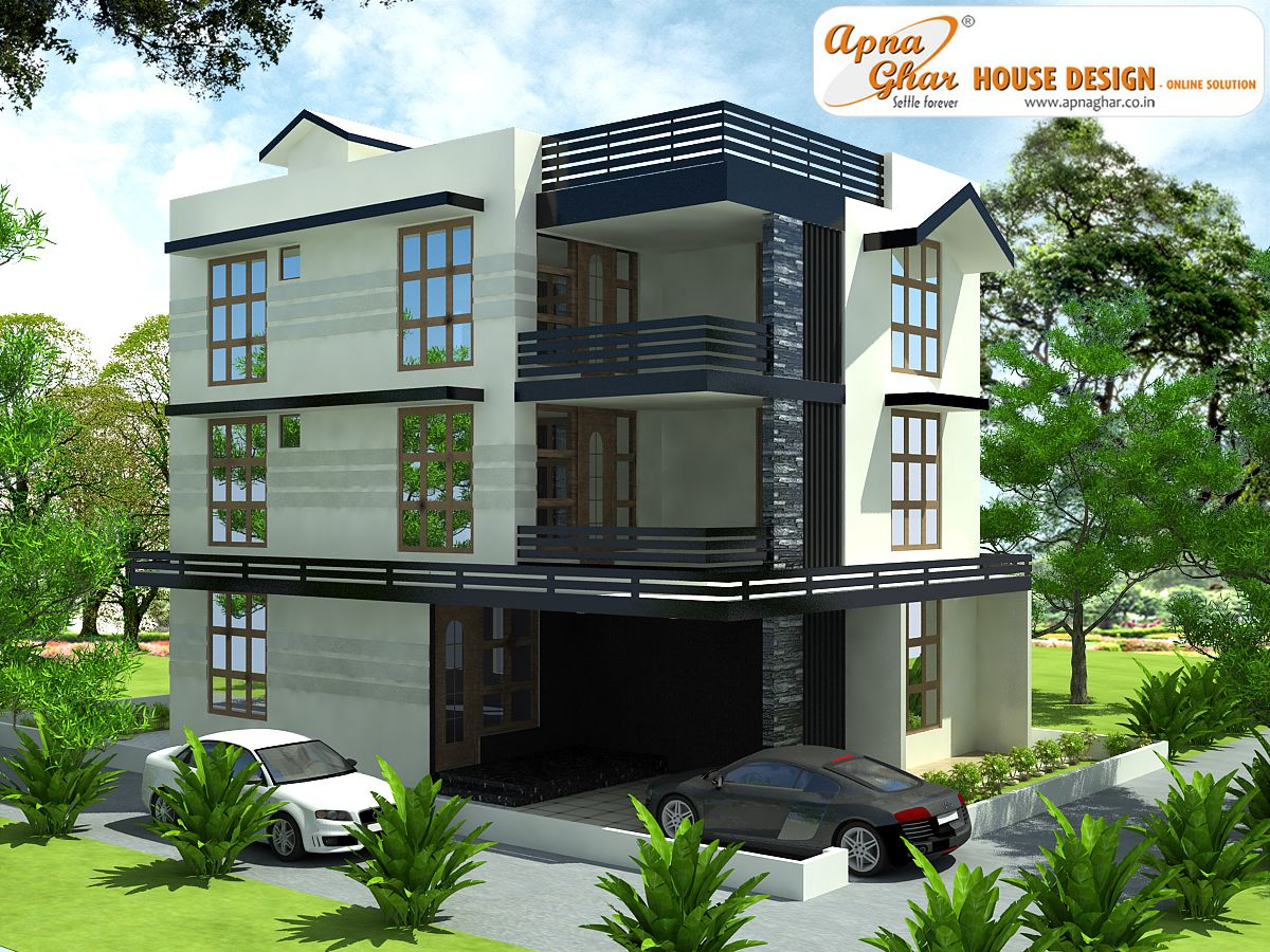 Modern triplex 3 floor house design area 240sq mts Naksha for house construction