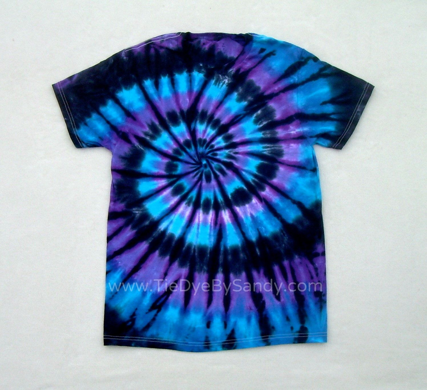 Tie Dye Shirt Moon Shadow Spiral Blue Purple Black Tie Dye Tie