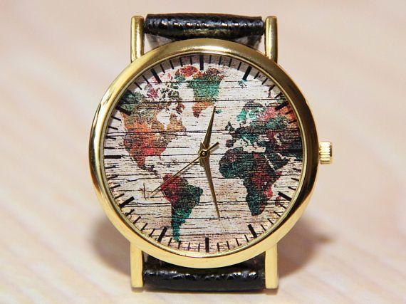Wristwatch world map wrist watch globe watch earth travel unique wristwatch world map wrist watch globe watch earth travel gumiabroncs Gallery